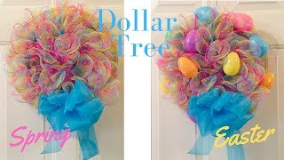 Inexpensive Dollar Tree Easter Spiral Wreath DIY