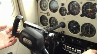 Cessna 152 cockpit: flight training - approach, landing, shut-down