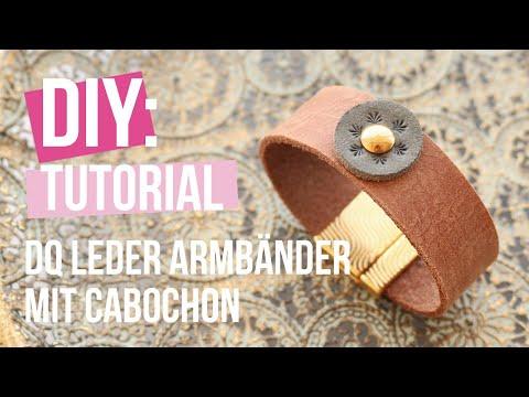 Schmuck machen: DQ Leder Armband mit Leder Cabochons ♡ DIY