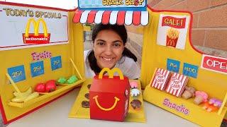 Hadil لعب مطعم وبيع طعام اللعب  McDonald's   Heidi و Zidane