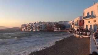 Закат на Миконосе. Греция с TEZ TOUR.(Закат на Миконосе в Маленькой Венеции под шум волны и ветра. Район Маленькая Венеция на Миконосе - одно из..., 2014-09-01T07:18:08.000Z)
