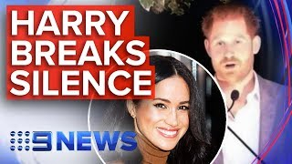 Harry defends Meghan as he breaks silence over royal exit | Nine News Australia