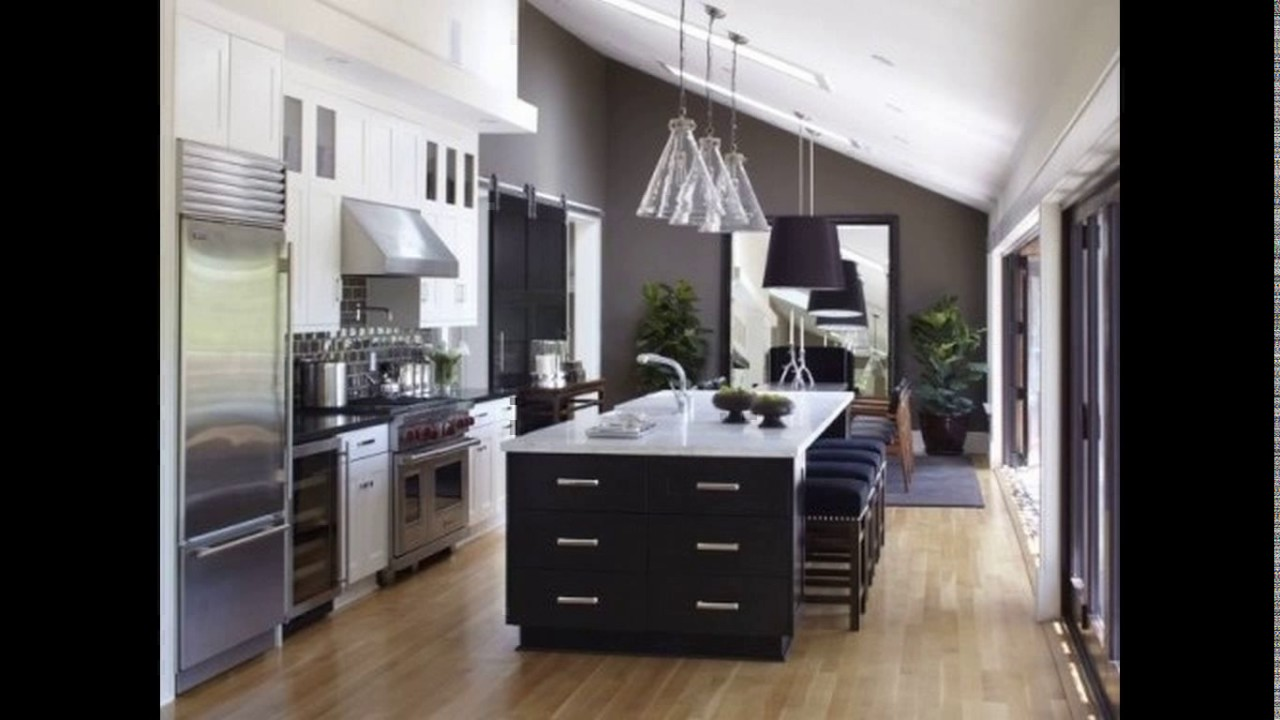 one wall kitchen layout with island one wall kitchen design with island youtube 9785