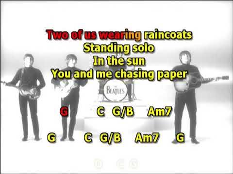 Two of us Beatles mizo vocalsreducedwestern guitar lyrics chords