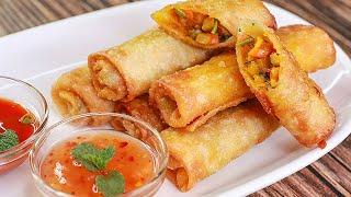 Crispy Vegetable Spring Rolls | Vegetable Roll Recipe | Easy Snacks Recipe | Toasted