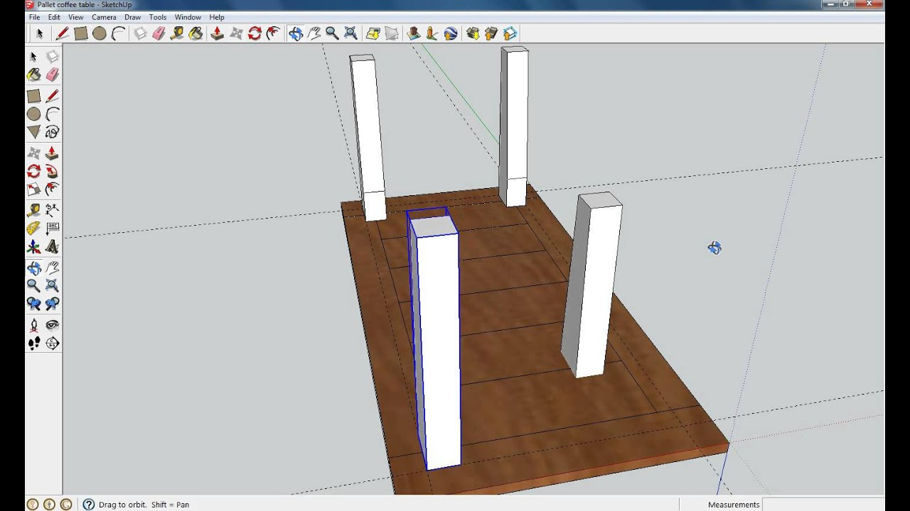 Pallet coffee table sketchup youtube for Table design sketchup