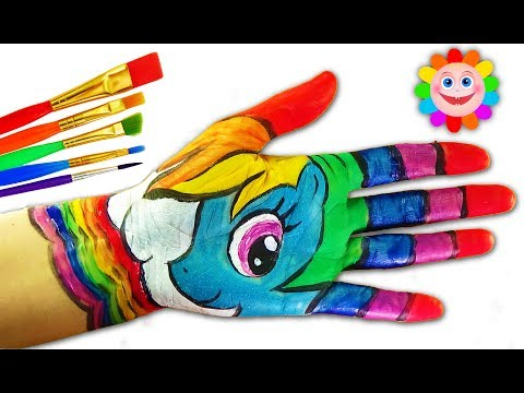 Hand Coloring Page | Body Painting Learning Colors Video | Learn Colors for Kids