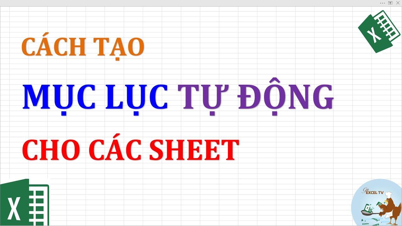 Cách tạo mục lục tự động cho các sheet trong Excel