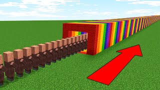 WHY ARE VILLAGERS STANDING IN THIS ENDLESS QUEUE IN AN ENDLESS RAINBOW IN MINECRAFT?