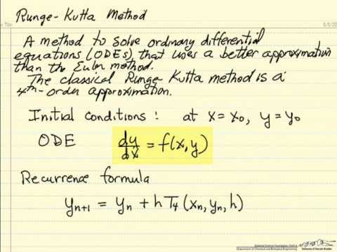 assignment runge kutta methods Here is the routine for carrying out one classical runge-kutta step on a set fourth-order runge-kutta method to advance the solution over an intervalh andreturnthe.