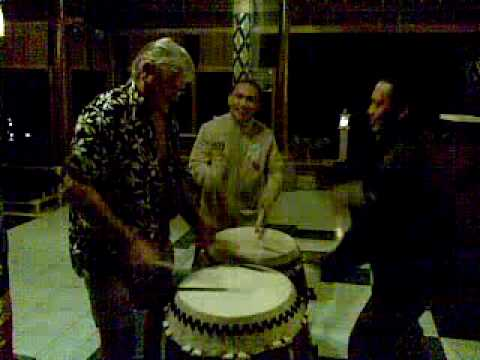 Kevin Armstrong on the drums in Bali after too many bintangs