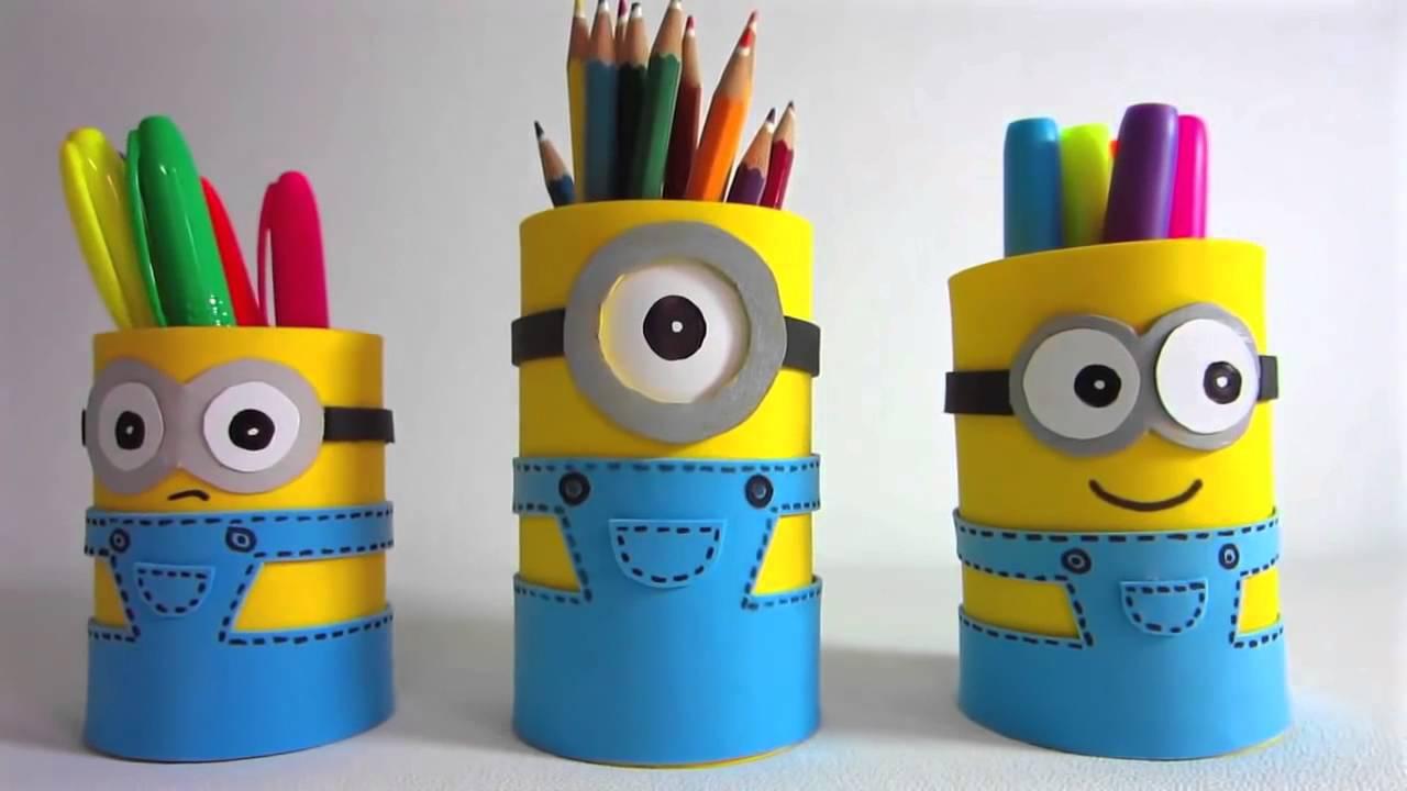 kreatif yuuk  membuat tempat pensil minion   youtube