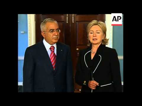 US Sec of State Clinton meets Palestinian PM Fayyad