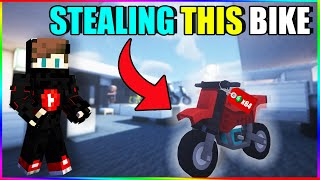 Stealing bike in Minecraft
