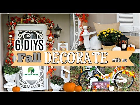 """🍁6 DIYS FALL FRONT PORCH DOLLAR TREE/THRIFT STORE MAKEOVERS/ DECORATE WITH ME 🍁""""I LOVE FALL"""" ep 26"""