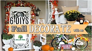 🍁6 DIYS FALL FRONT PORCH DOLLAR TREE/THRIFT STORE MAKEOVERS/ DECORATE WITH ME 🍁