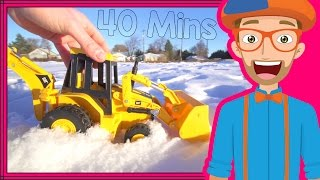 Repeat youtube video Educational Videos for Toddlers with Blippi | Backhoes and Colors!