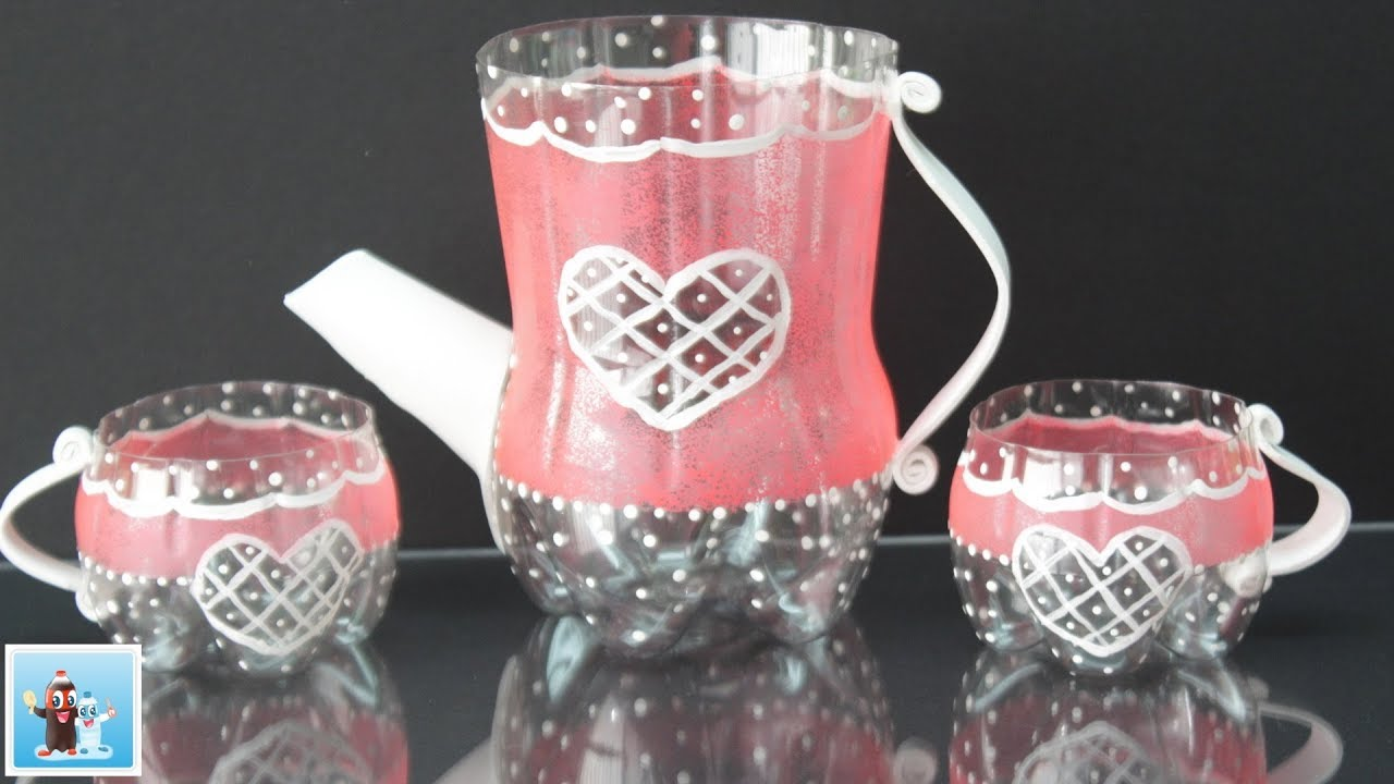 How to make an amazing tea pot and cups from cola plastic for Make glasses out of bottles