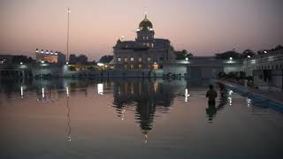 Gurdwara Bangla Sahib prominent Sikh house of worship At Sunrise In New Delhi India