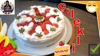 (Pastacı Kremalı)  Çilekli Muzlu Yaş Pasta Nasıl yapılır ? Sibelin mutfağı ile yemek tarifleri