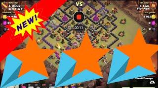 Clash of Clans - War hall 9 Golem + Hog clear 3 star ( Battle highlights )