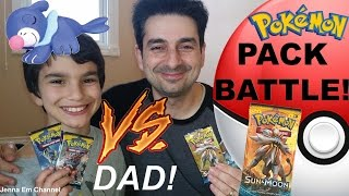 Pokemon Pack Battle: VS My Dad! Pokemon Sun and Moon Jenna Em