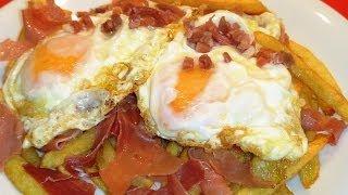 Receta Huevos rotos con jamón - Recetas de cocina, paso a paso, tutorial