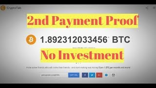 2nd Payment Proof || CryptoTab Browser || Bitcoin Mining || No Investment || Guaranteed Payout