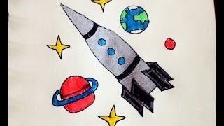 Как нарисовать ракету# Космос# День космонавтики(12 апреля.День космонавтики., 2016-04-05T08:30:37.000Z)
