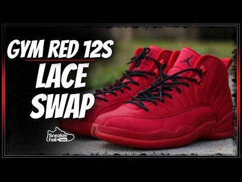 2018 AIR JORDAN RETRO 12 GYM RED LACE SWAP AND ON FEET | AIR JORDAN 12 BULLS | GYM RED BLACK 12