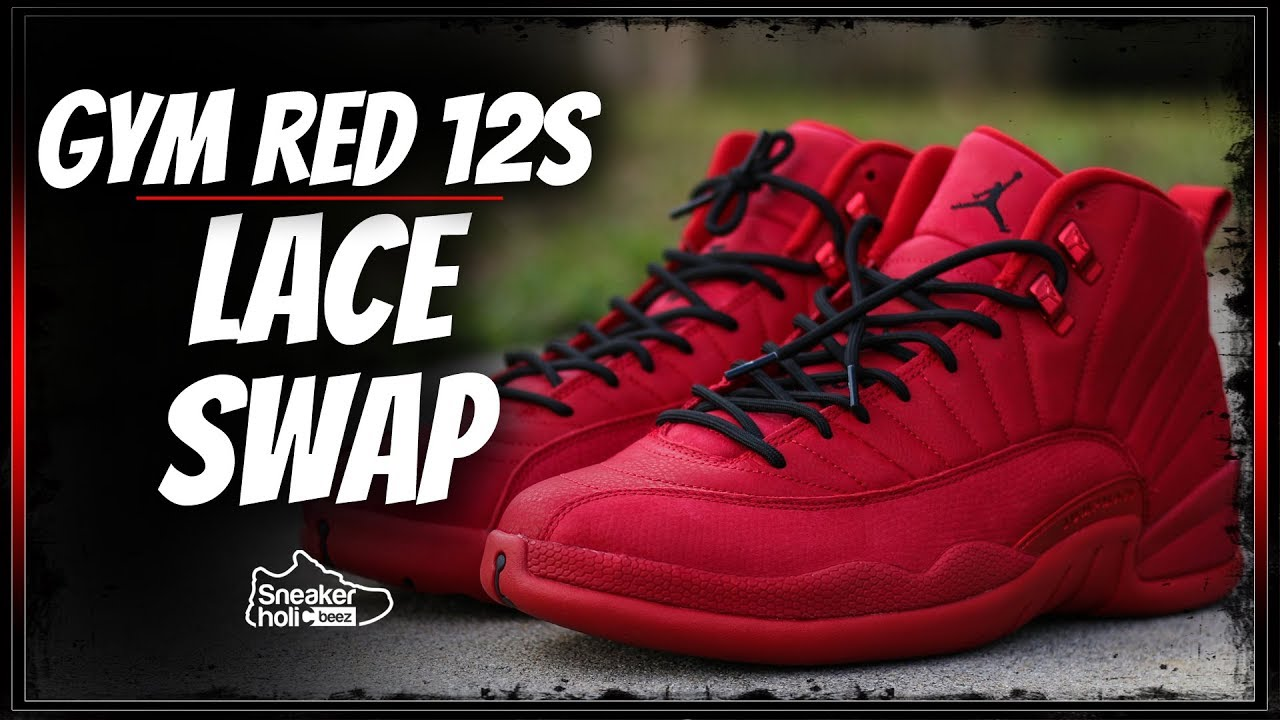 new concept 1e516 76d76 2018 AIR JORDAN RETRO 12 GYM RED LACE SWAP AND ON FEET | AIR JORDAN 12  BULLS | GYM RED BLACK 12