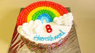Rainbow Cake Recipe - How To Make Eggless Rainbow Cake With Fresh Cream No Fondant in Hindi