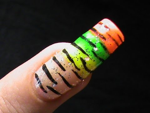 How To Do Zebra Stripes Colorful Nail Art Designs Youtube