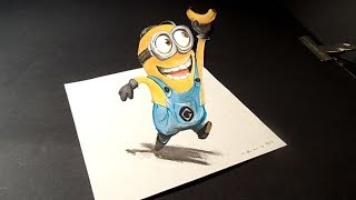 How to draw Cute Minion - 3D Trick Art For Kids - VamosART