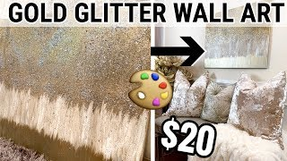 DIY GOLD GLITTER WALL ART! | Metallic Wall Art Home Decor