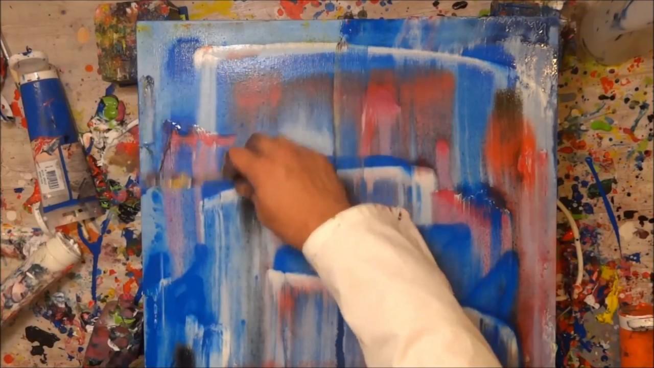 tutorial abstrakte kunst (8) - wir malen ein bild - acryl spachtel