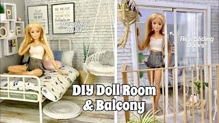 DIY Barbie Doll Room & Balcony! Real Sliding Doors + Hanging Doll Chair!