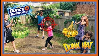 Gambar cover ZURU BUNCH O BALLOONS TARGET PRACTICE WITH DUNK HAT CHALLENGE!! | Bowie Family Vlogs