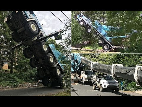 A huge crane toppled over backw ards in the Adelaide Hills