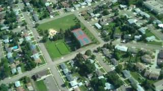 Aerial video over Bismarck, ND, and wind project near Center