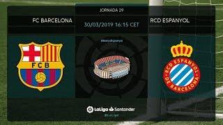 Calentamiento FC Barcelona vs RCD Espanyol