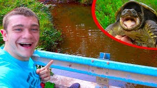 Snapping Turtle Trapping From a BRIDGE!