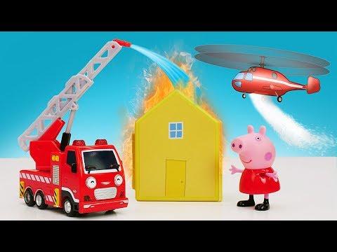 видео: Видео про машинки помощники для малышей! Пожарная машина и вертолет тушат пожар!