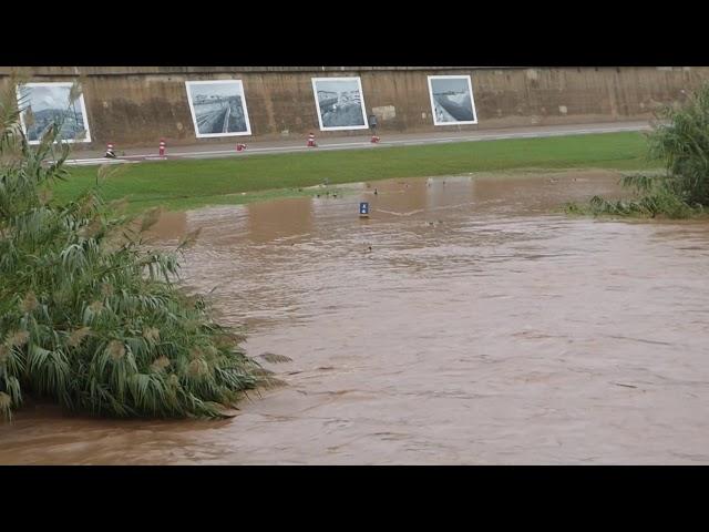 Riuada del Besòs a Sant Adrià en l'episodi d'inundacions de l'octubre de 2019