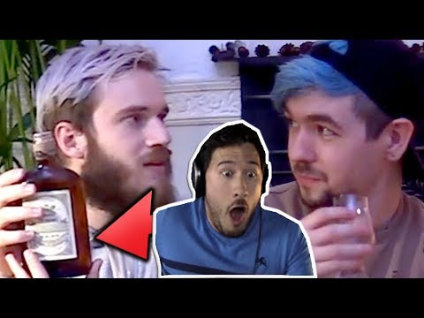 Markiplier reacts to Pewdiepie's 100 years old Whiskey drinking / 100% clickbait