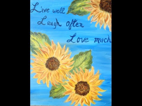"Painting Lessons: ""How to"" guided acrylic painting for beginners (Sunflowers) CreativeJuicesArts"