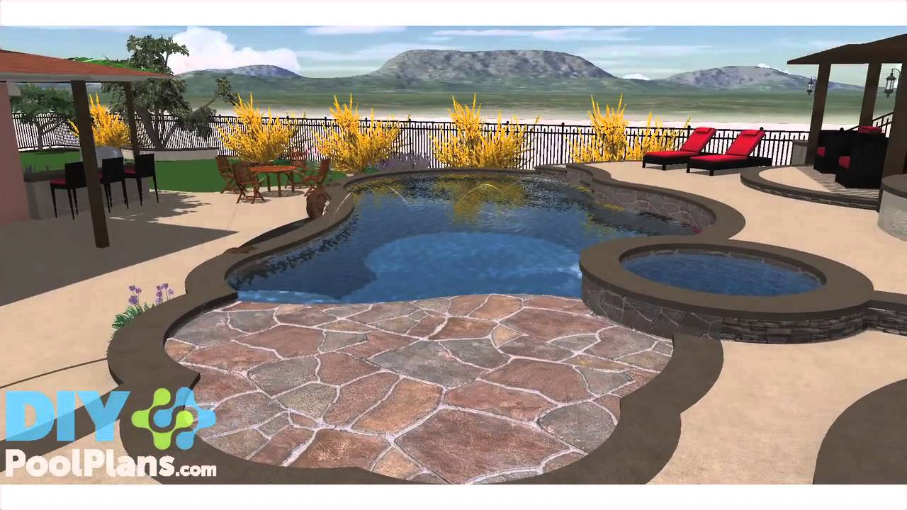 Swimming Pool and Spa Built into Hill - YouTube