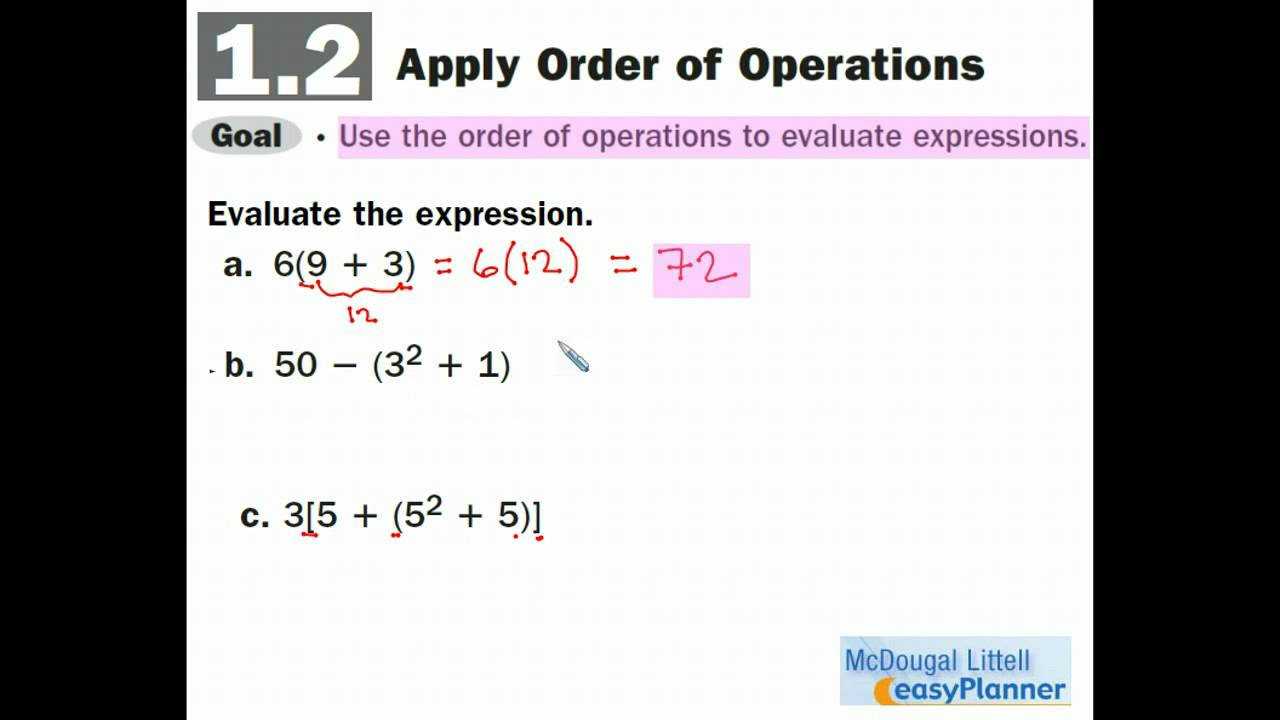 Algebra I 12 Evaluate Expressions With Grouping Symbols Youtube