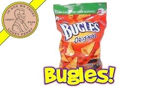 Bugles Original Flavor Crispy Corn Snacks - USA Snack Food Tasting