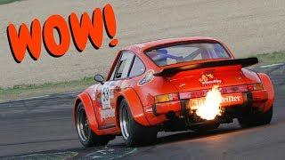 massive exhaust flames 1976 porsche 934 in action spa imola racetrack